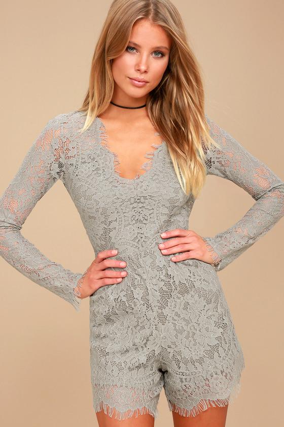 Ellery Grey Lace Long Sleeve Romper 4