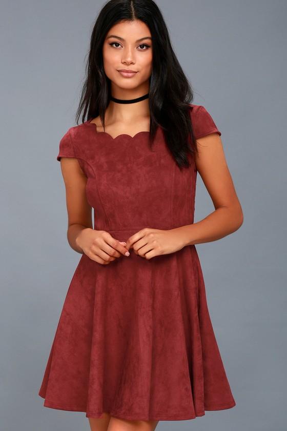 Dearest Dreams Wine Red Suede Skater Dress 5