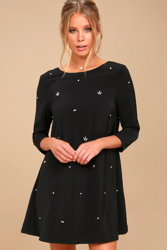 So Precious Black Rhinestone Swing Dress - Lulus