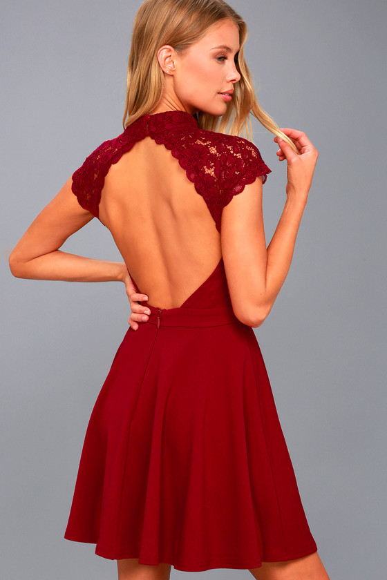Instant Romance Wine Red Lace Backless Skater Dress 2