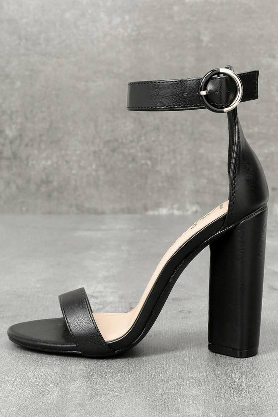 9041f4686ce Chic Black Heels - Black Ankle Strap Heels - Single Sole Heels -  35.00