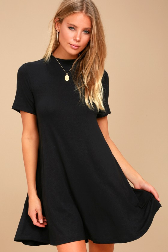 e838489886d9 Chic Black Dress - Mock Neck Dress - Swing Dress
