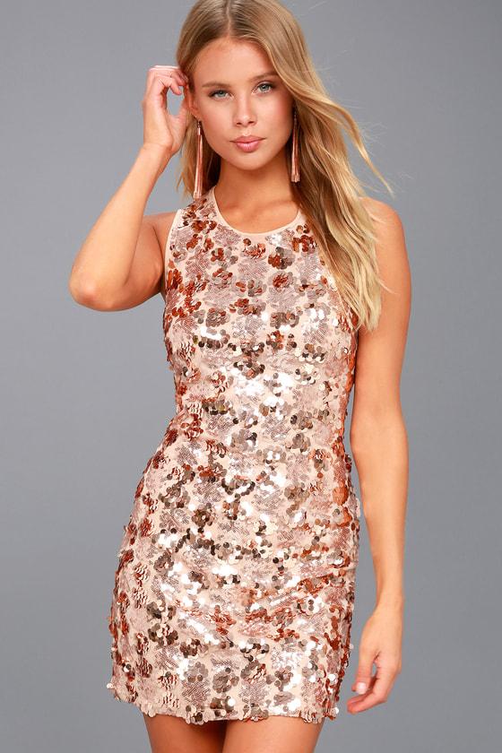 Sexy Rose Gold Dress - Sequin Dress - Bodycon Dress 5a9210e85