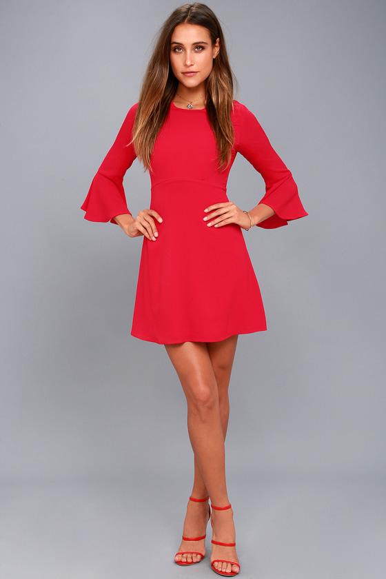 f00fa0f1073 Cute Red Dress - Flounce Sleeve Dress - Sheath Dress