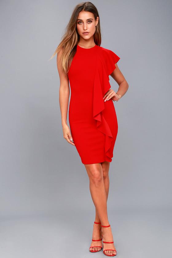 d2eb3d1e8add Chic Bodycon Dress - Ruffle Dress - Midi Dress - Red Dress