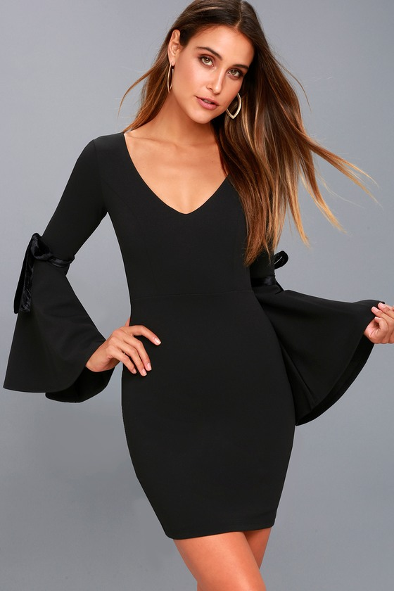 Once in a While Black Bell Sleeve Bodycon Dress 6