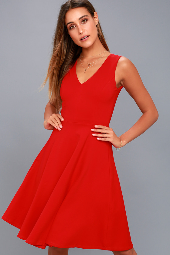 Hello World Red Midi Dress