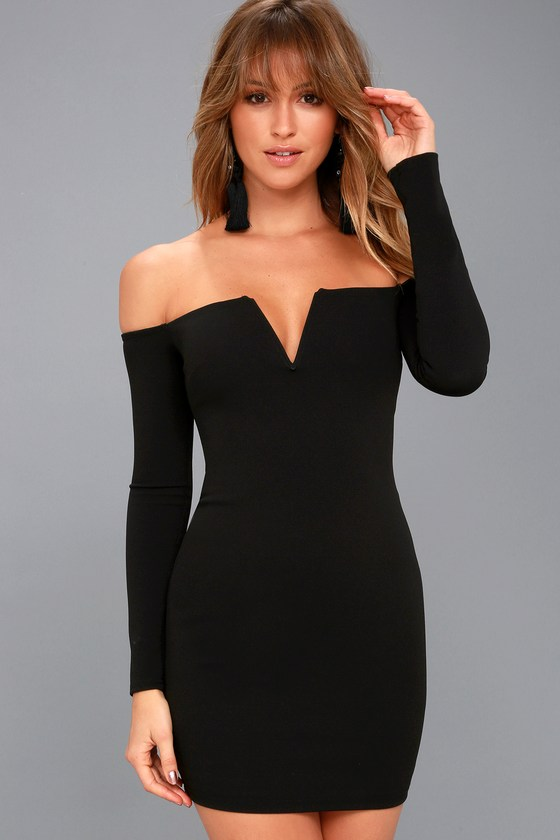 f98a2b3ba0 Sexy Long Sleeve Bodycon Dress - Off-the-Shoulder Dress