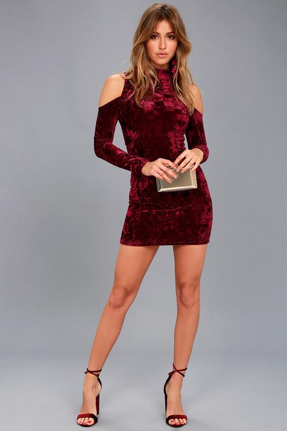 ade4b5fd45fe A Little Crush Burgundy Velvet Cold-Shoulder Bodycon Dress