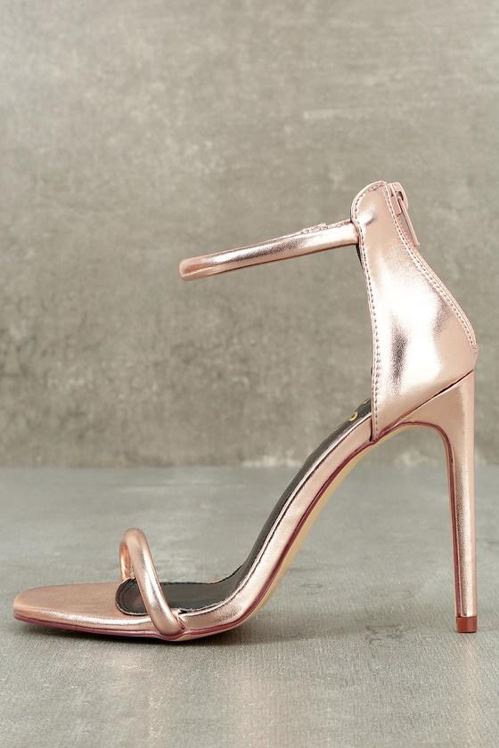 578aaf1f2e6 Pretty Rose Gold Heels - Ankle Strap Heels -  28.00