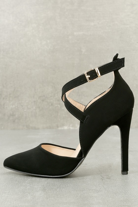 Important Invitee Black Suede Heels 8