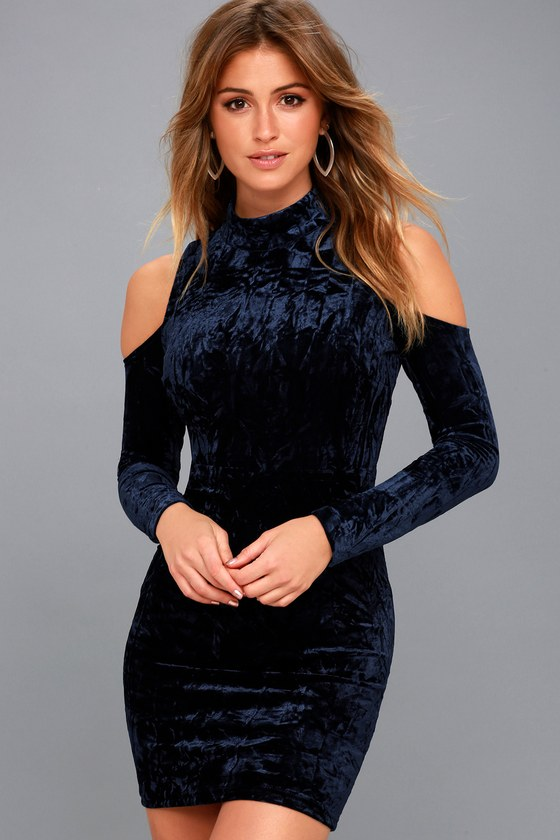 6f1d83f3c Sexy Navy Blue Bodycon Dress - Velvet Cold-Shoulder Dress
