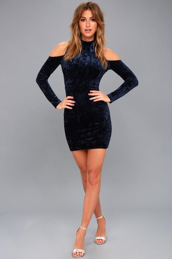 0ff316418 A Little Crush Navy Blue Velvet Cold-Shoulder Bodycon Dress