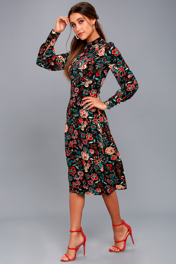 b8d8a679e0c Cute Black Floral Print Dress - Black Dress - Midi Dress