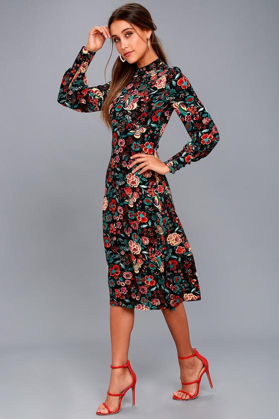 Retro Ready Black Floral Print Long Sleeve Midi Dress 6
