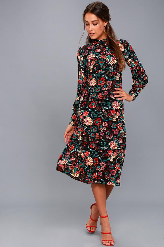 11976cbfe93a Cute Black Floral Print Dress - Black Dress - Midi Dress