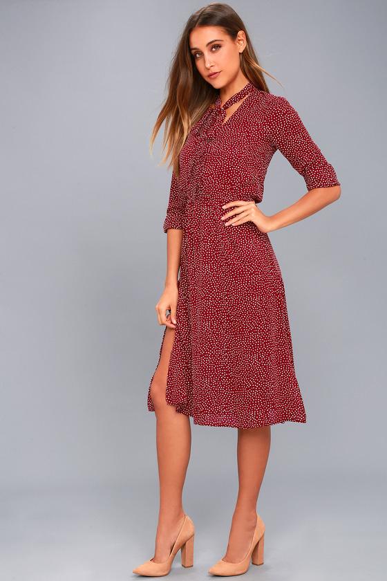 6ab96992d2cf Chic Polka Dot Dress - Long Sleeve Dress - Midi Dress