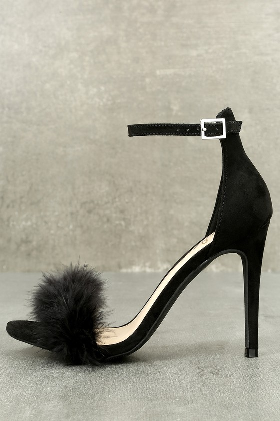 Valentina Black Feather Ankle Strap Heels 8