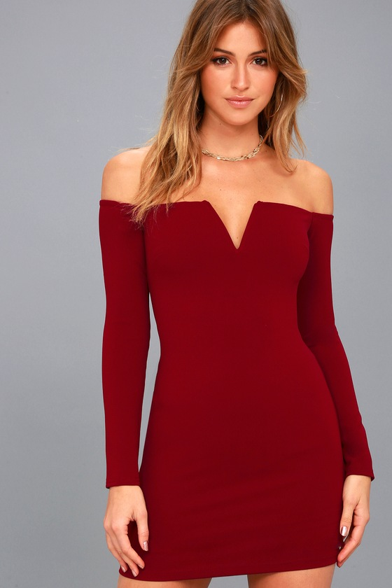 Sexy Wine Red Dress - Off-the-Shoulder Dress - Bodycon Dress