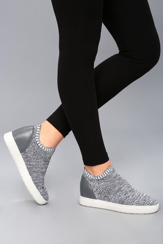 7ed4abafdf Steve Madden Sly - Grey Multi Knit Sneakers - Wedge Sneakers