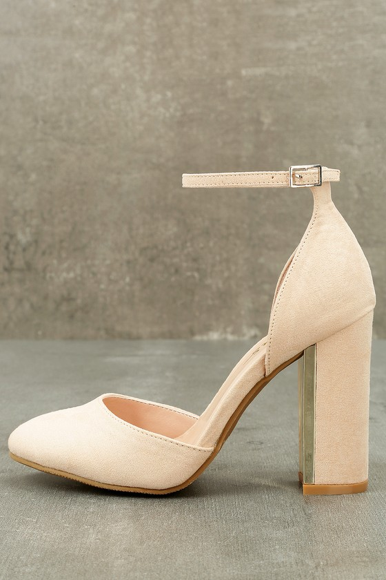 22c5d876b2a Chic Nude Suede Heels - Ankle Strap Heels - Block Heels