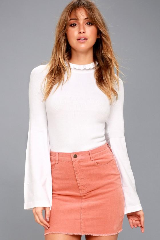 Only You Blush Pink Corduroy Mini Skirt 1
