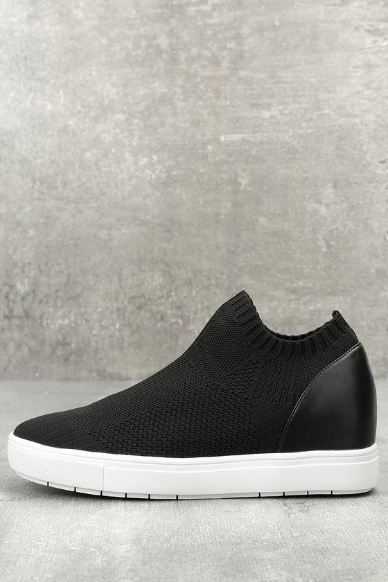 c0962ea1291 Steve Madden Sly - Black Knit Sneakers - Wedge Sneakers