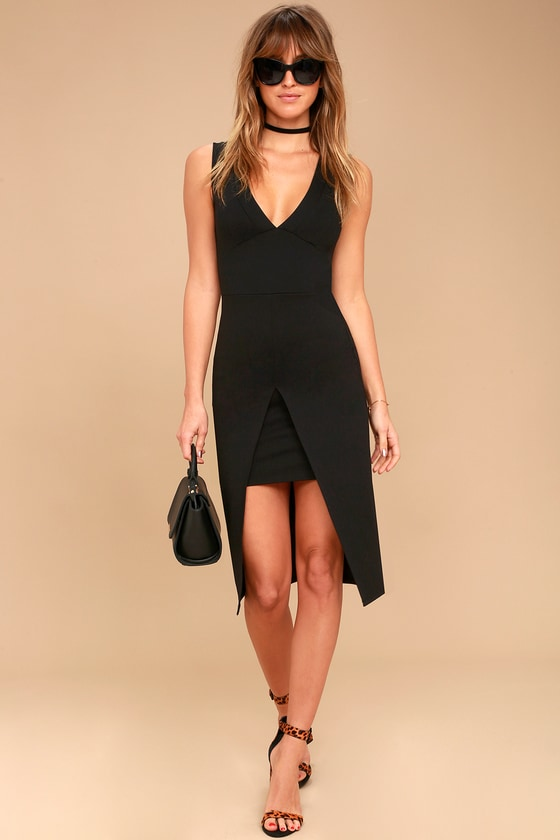 41d7604107db Sexy Black Bodycon Dress - Midi Dress - Center Slit Dress
