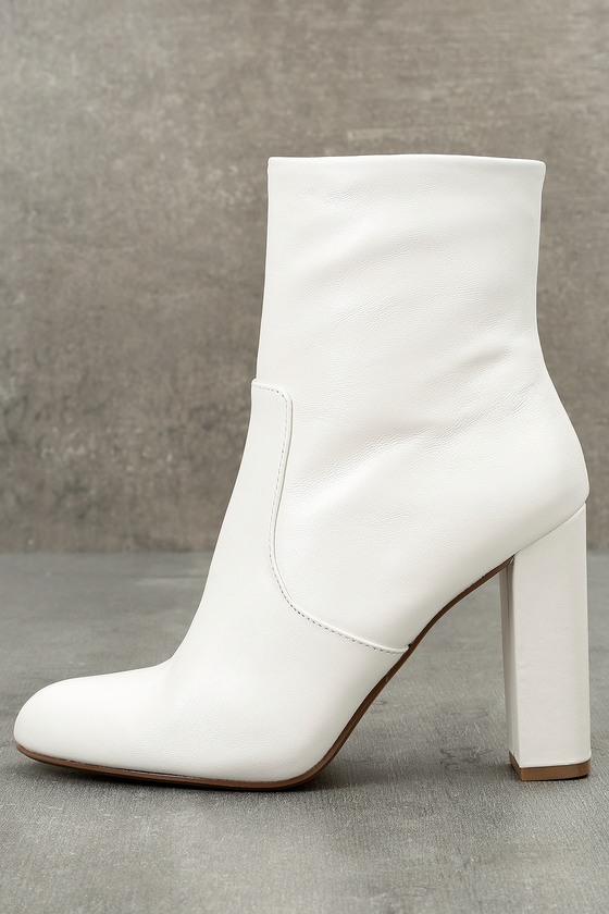 56f5983283b Steve Madden Editor - White Leather Boots - High Heel Boots