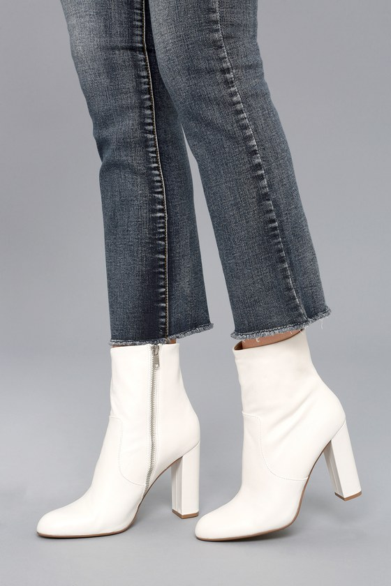 2b020b77edb Steve Madden Editor - White Leather Boots - High Heel Boots