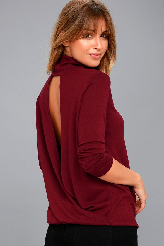 Cute Backless Top - Burgundy Sweater Top - Mock Neck Top