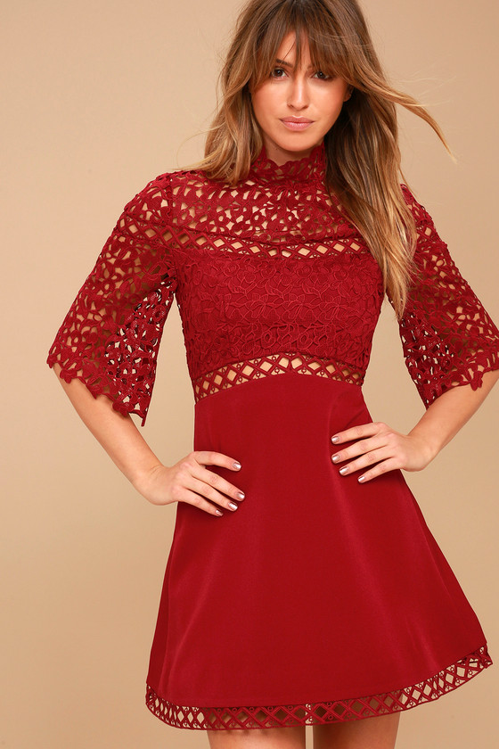 Keepsake Uplifted Dress Wine Red Lace Dress Mini Dress