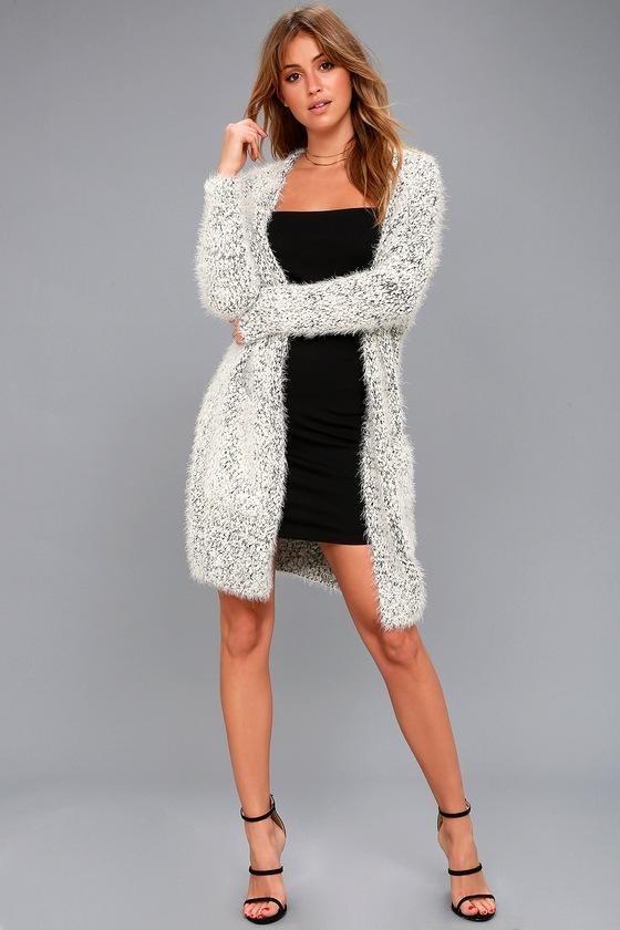 Cozy Black And White Sweater Eyelash Knit Cardigan
