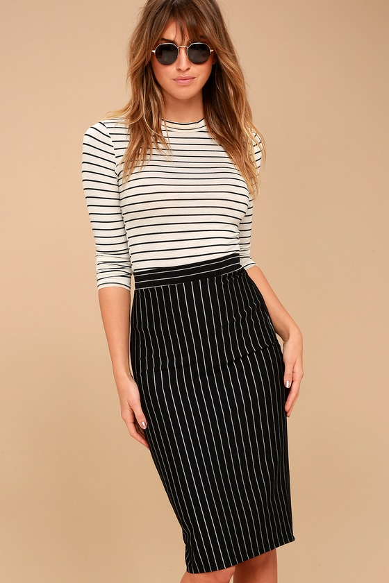 Chic Black Pinstripe Skirt Pencil Skirt Midi Skirt