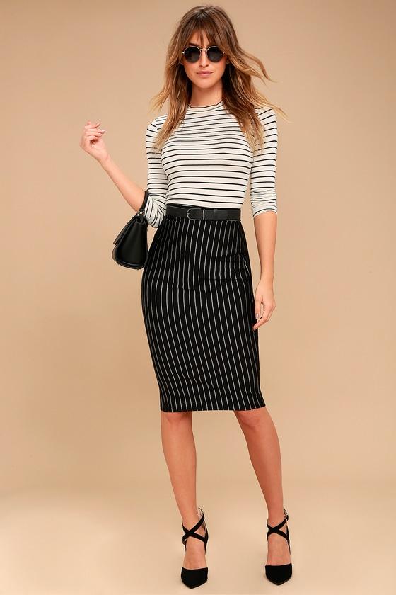925f7bf8077 Chic Black Pinstripe Skirt - Pencil Skirt - Midi Skirt