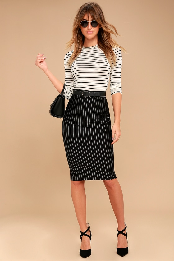 fbbc32b42c Chic Black Pinstripe Skirt - Pencil Skirt - Midi Skirt