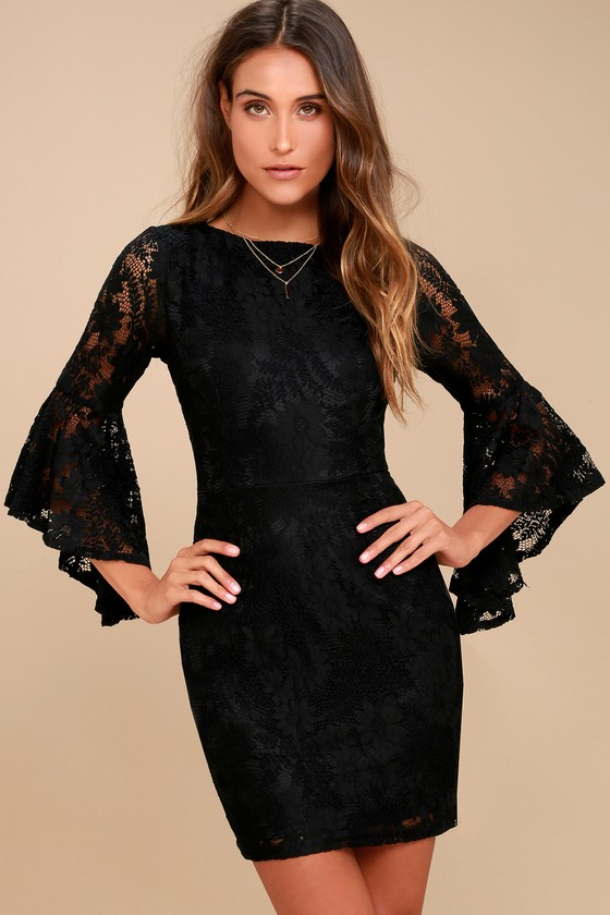 Sexy Black Lace Dress Lace Flounce Sleeve Dress Lbd