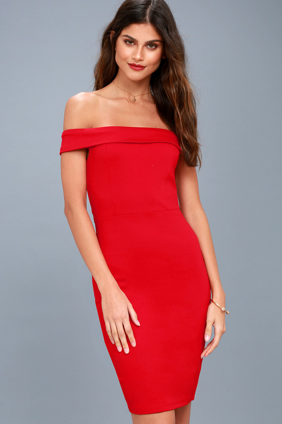 1f8ca25968d1 Sexy Red Dress - Off-the-Shoulder Dress - Bodycon Dress