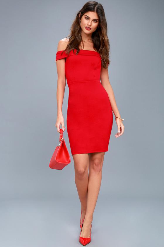 e7e984792e2 Sexy Red Dress - Off-the-Shoulder Dress - Bodycon Dress