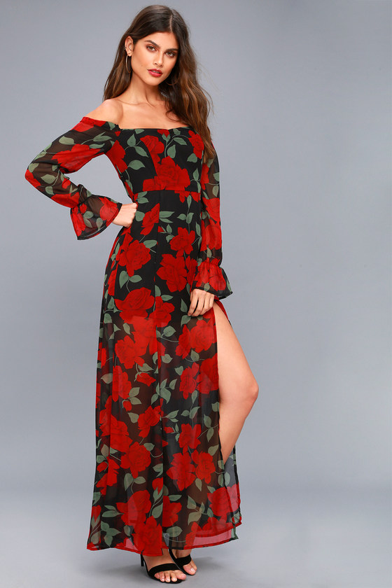 84abbed3f5d5 Stunning Floral Maxi Dress - Off-the-Shoulder Dress