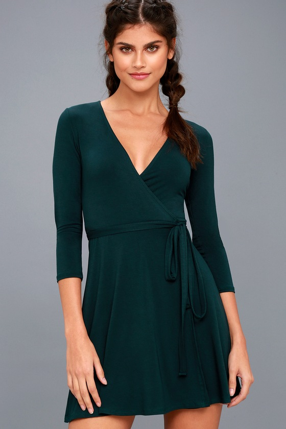 Cool Forest Green Dress - Wrap Dress - Fit and Flare Dress