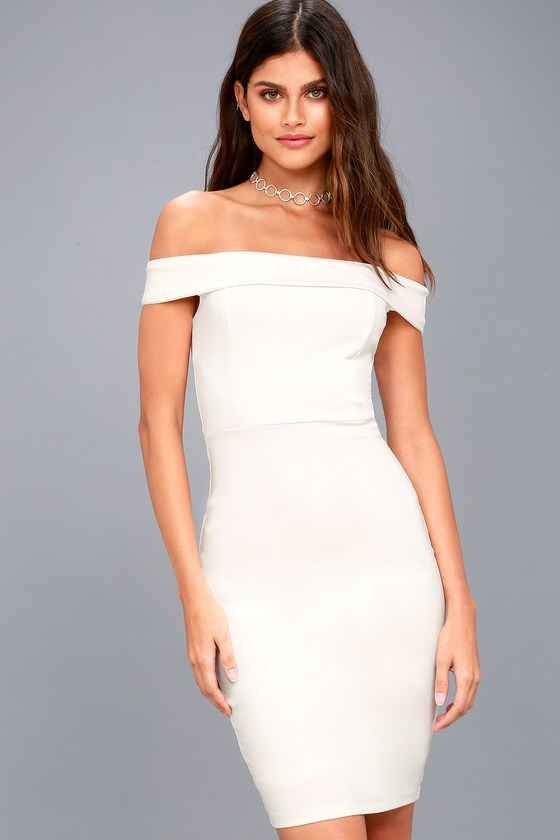 Charm and Delight White Off-the-Shoulder Bodycon Dress 3