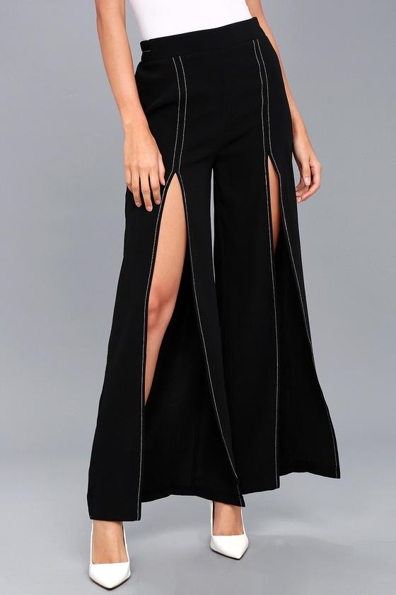 8c91734b989b Trendy Black Pants - Wide Leg Pants - Tulip Hem Pants
