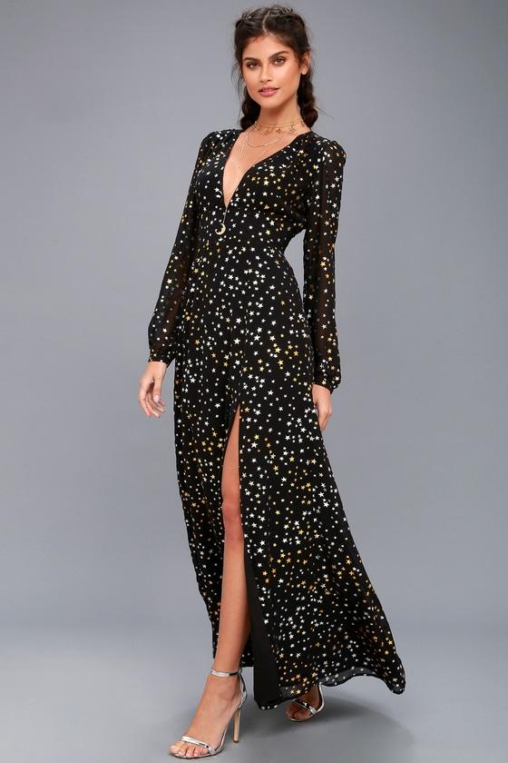 589939c2570 Sparks Fly Black Star Print Long Sleeve Maxi Dress