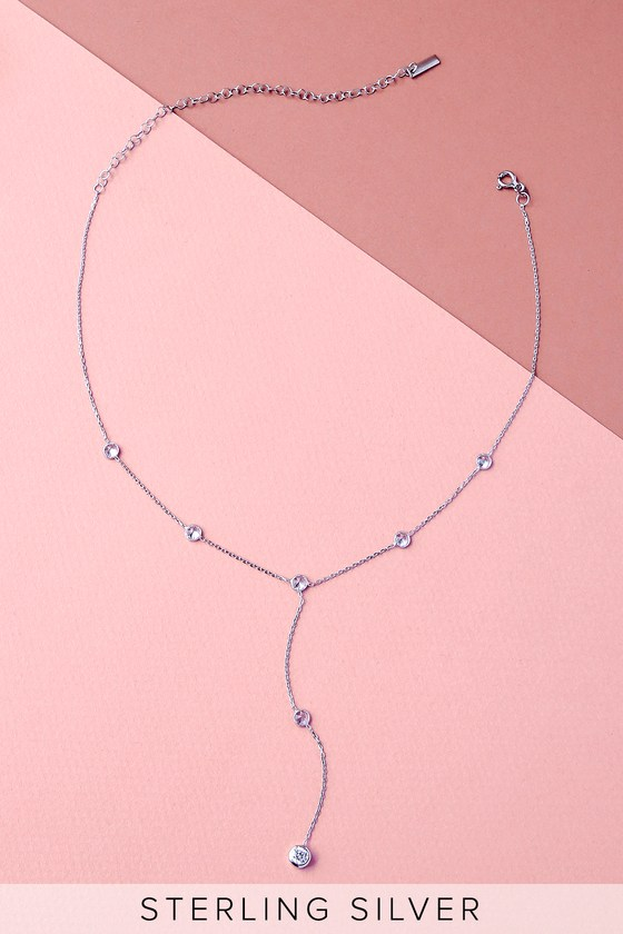 Inner Peace Sterling Silver Rhinestone Drop Necklace 4