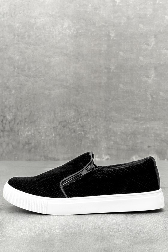 1d0f7de1c65739 Report Alma - Black Slip-On Sneakers - Velvet Sneakers