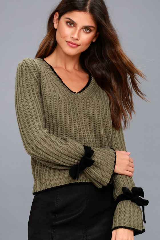 Verses From The Heart Olive Green Bell Sleeve Knit Sweater 6