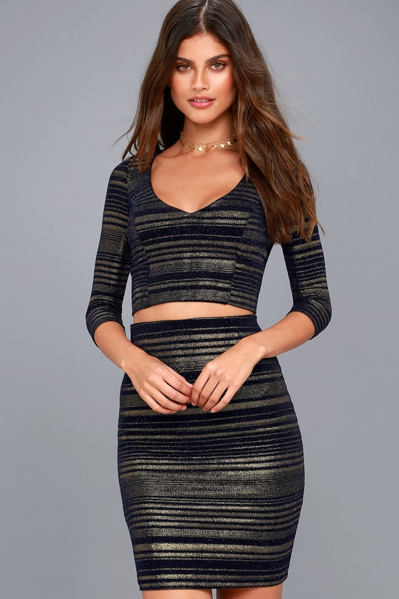 Shimmer Down Navy Blue and Gold Striped Two-Piece Dress 6
