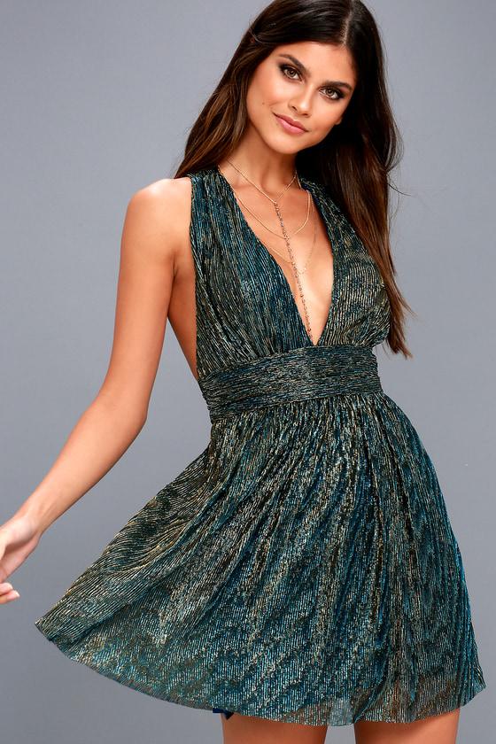 Sexy Gold And Teal Blue Dress Metallic Skater Dress