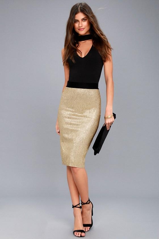 24efb2fbd7 Chic Gold Skirt - Bodycon Midi Skirt - Metallic Skirt